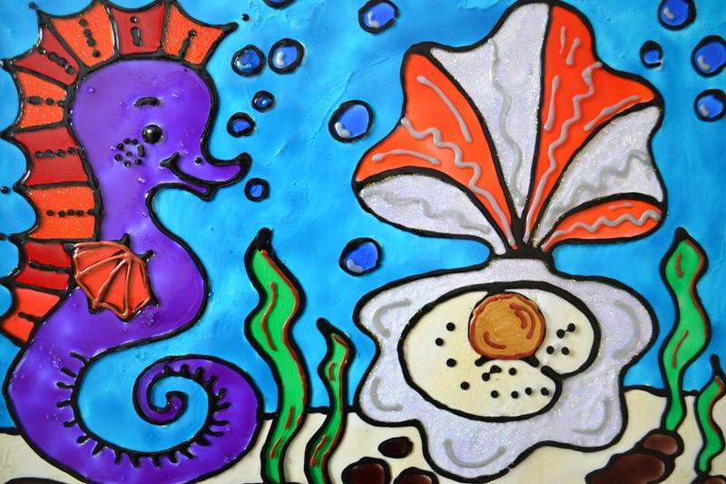 бумажном рисунок подводное царство красками этот