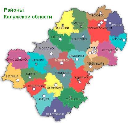 калужская область карта районы день Для